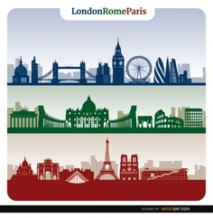 This set has three banners showing skylines of three of the most important cities in Europe and the world: London, Rome, and Paris. These three city skylines sh Horizon Paris, London Paris Rome, Travel Crafts, Graphic Design Fonts, London Tattoo, City Vector, Skyline Silhouette, London Landmarks, Banners