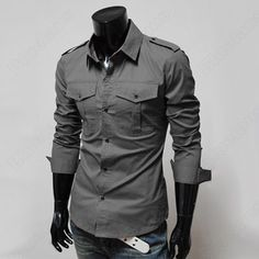 Discount China china wholesale Men's Fashion Designer Military Slim Dress Shirts Tops Western US SZ XS,S,M,L [31162] - US$16.99 : DealsChic