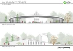 ✩ Check out this list of creative present ideas for tennis players and lovers Entrance Design, Entrance Gates, Main Entrance, Gate Design, Pavilion Architecture, Concept Architecture, Landscape Architecture, Bridge Design, Urban Furniture