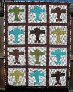 JIURA AIRPLANE QUILT - Custom made by DLQ for Susan Jiura - quilted by DLQ by DLQuilts, via Flickr
