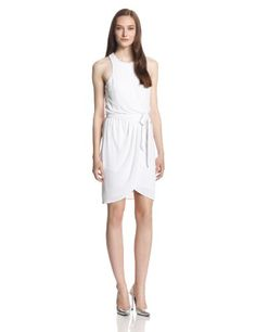 The Jessen is the perfect little white dress to wear this summer  made up of super soft matte jersey it boasts a tulip skirt that drapes beautifully and a self tie to cinch your waist. #Fashion  #Amazon