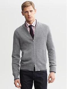 This one is more modern but I like the slim fit. you should try in stores  Extra-fine merino wool zip cardigan | Banana Republic