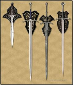 ok, sooo....dont tell me. the first one is sting, the second one is....not sure...the third one is the witch kings sword, and the last one is anduril.