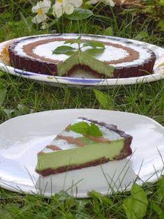 Raw vegan mint chocolate tart.