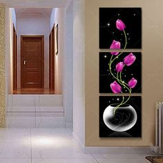 3 Panel Modern Printed Red Flower Oil Painting Canvas Wall Art Home Decoration For Bed Room Living Room Unframed Long Painting, Oil Painting Pictures, Oil Painting Flowers, 3 Piece Canvas Art, Canvas Wall Art, Painting Canvas, 3 Panel Wall Art, 3 Piece Wall Art, Modern Prints
