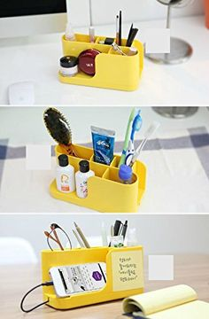 Amazon.com : Cyanics Multifunction Home Office Desk Office Cubicle Accessory Supplies Organizer Holder for Stationery Items, Smartphone Stand Function (Yellow) : Office Products