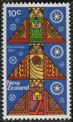 """Meri Kirihimete!"" Leena, the Postationist elf, is always trying out ways to say Merry Christmas in new languages. This is how you say it in Maori. She likes the yummy smell of a BBQ Christmas lunch, the way some people enjoy their summer festivities in New Zealand. (Stamp: New Zealand, 1971)"