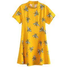 Chicnova Fashion Bee Print Short Sleeves Yellow Dress
