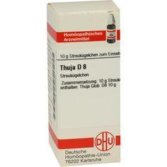 THUJA D 8 Globuli:   Packungsinhalt: 10 g Globuli PZN: 04240422 Hersteller: DHU-Arzneimittel GmbH & Co. KG Preis: 5,50 EUR inkl. 19 %…