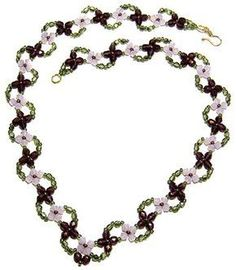 free beading pattern for Lobelia Necklace (crystals or fire polished beads)