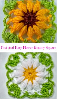 Crochet Squares Granny Design fast and easy flower granny square Crochet Flower Squares, Granny Square Häkelanleitung, Crochet Sunflower, Granny Square Crochet Pattern, Crochet Blocks, Crochet Flower Patterns, Crochet Granny, Crochet Motif, Crochet Flowers