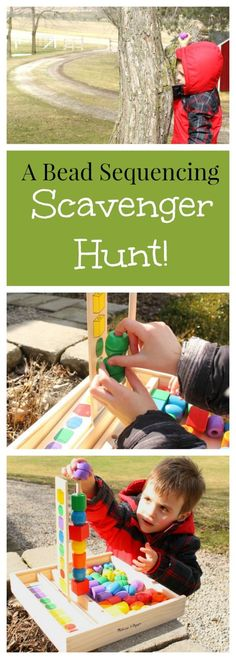 A great outdoor activity for preschoolers - going on a patterning scavenger hunt!!! This Outdoor Bead Sequencing Scavenger Hunt is great • Melissa & Doug Blog: