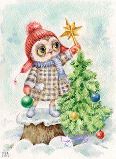 Сова новогодняя Christmas Bird, Christmas Animals, Christmas Pictures, Vintage Christmas, Christmas Crafts, Illustration Noel, Christmas Illustration, Illustrations, Whimsical Owl