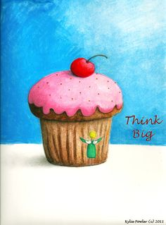 "Items similar to Think Big Cupcake Angel Fairy Mixed Media Inspirational Art Print 8x10"" on Etsy"