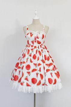 Neverland Lolita -Fresh and Sweet Watermelons- Lolita Jumper Dress,Lolita Dresses, Grunge Look, Style Grunge, 90s Grunge, Kawaii Fashion, Lolita Fashion, Cute Fashion, Vintage Fashion, Kawaii Dress, Kawaii Clothes