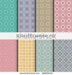 Set of eight Seamless geometric line patterns. Contemporary graphic design. Endless linear backgrounds collection, seamless lace texture for banners, flyers, invitation cards. Colorful ornament