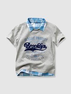 Camiseta efecto 2 en 1 niño BLANCO CLARO LISO CON MOTIVOS+GRIS CLARO JASPEADO+VERDE CLARO LISO CON MOTIVOS