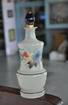 Vintage Unique Shape Victorian Handpainted Big Glass Perfume Bottle