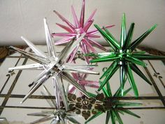 Vintage Atomic Satellite Christmas Ornaments Metallic Pink Green and Silver