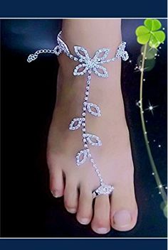 Vococal - 1 paio Crochet Sandali a Piedi Nudi Scarpe Cavigliera Braccialetto per Festa di Nozze Bridal Bridesmaid Danza Signore Donne Accessorio da Spiaggia Estate
