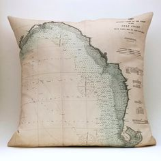 Vintage Nautical Chart Pillow GULF COAST FL Made to by saltlabs