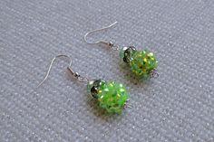 Neon Green Rhinestone Earrings by GorgeousGemsBySummer on Etsy