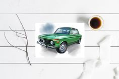 Excited to share this item from my shop: BMW 2002 green greeting card. Florence Art, Cards For Boyfriend, Bmw 2002, Automotive Art, Card Birthday, Custom Cards, Special People, Creative Cards, Christmas Cards