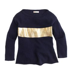 Cute navy and gold holiday sweater for girls - pair it with red or gold leggings to get really festive.