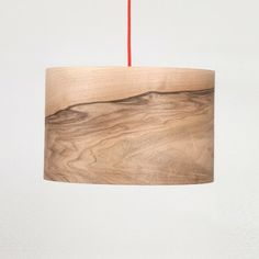 Veneer pendant lamp with a red cord $202