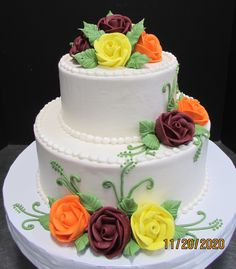 Buttercream iced cake with fall colored roses Traditional Wedding Cakes, Ice Cake, Roses, Fall, Desserts, Color, Autumn, Tailgate Desserts, Deserts