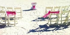 Adding our beautiful sand ceremony and a simple chair sash in your choice of color creates a beautiful accent to any indoor, beach our outdoor wedding.  Created by Simple Elegant Weddings