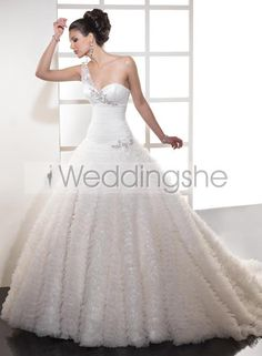Awesome Ball Gown One Shoulder Chapel Train Wedding Dress(Free Shipping)
