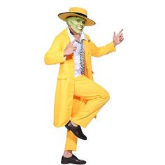 Clothes 2018 Men Fancy Dress The Mask Jim Carrey Costume Yellow Gangster Zoot Suit Outfit 2018 1990s Costume Ideas, Retro Costume, Cool Costumes, Vintage Costumes, 90s Fancy Dress, Halloween Fancy Dress, Costume Halloween, Gangster Costumes, Yellow Costume