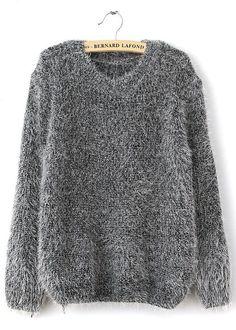 Grey Long Sleeve Shaggy Mohair Loose Sweater - Sheinside.com