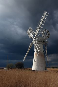 Thurne Mill, Norfolk with a stormy backdrop