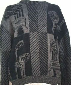 Textured knit Graphic Golf Clubs and bag. Small Cable knit with alternating chevron pattern. Golf Sweaters, Pullover Sweaters, Man Clothes, Black And Grey, Gray, Vintage Branding, Timberland Mens, Sweater Making, Golf Polo Shirts