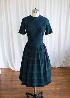 f831b68fd3e2 Connaughtman's Rambles dress vintage 50s dress navy || Two Old Beans Vintage  Clothing Blue Plaid