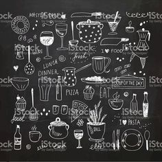 Hand drawn vector Illustration vetor e ilustração royalty-free royalty-free tools doodle Kitchen tools and equipment. Kitchen Drawing, Kitchen Art, Kitchen Backsplash, Kitchen Tools, Kitchen Ideas, Blackboard Drawing, Blackboard Art, Kitchen Blackboard, Menu Design