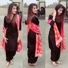 Punjabi Dress, Pakistani Dresses, Indian Dresses, Indian Outfits, Punjabi Suits, Black Salwar Suit, Patiala Salwar Suits, Churidar, Patiala Suit Designs