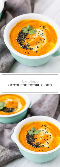 A plant-based slow cooker soup, this Low FODMAP Carrot and Tomato Soup is a yummy option to warm up during these cold weather months.   funwithoutfodmaps.com   #lowfodmap #slowcooker #souprecipe