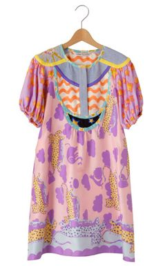 i'd have to pair with a studded belt or biker boots to cut through some of the sweetness, but I love the mix of patterns, colors, piping and embroidery details on delicate silk. Tsumori Chisato.