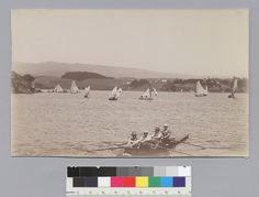 Four-oared shell and boats, Lake Merritt Oliver/Bancroft collection