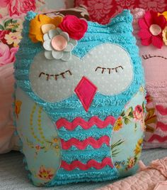 ON SALE - JADE -Special Edition Vintage Inspired Chenille Owl Plush - Ready to Ship