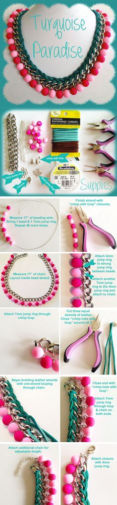 Another great statement necklace mini tutorial! We love the chain effect here ...
