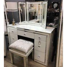 # Mirrored White Furniture - sales line Tel: 0800 9202017 Glitter Furniture, Mirrored Furniture, White Furniture, Glam Bedroom, Bedroom Decor, Bedroom Ideas, Essex Homes, Dressing Table With Stool, Luxury Mirror