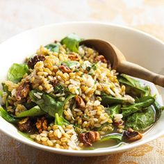 Spicy Barley and Rice Chopped chipotle peppers bring a spicy touch to this healthy barley, rice, and spinach recipe. Toasted pecans add a crunchy texture.