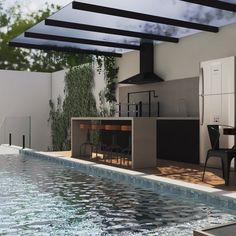 Outdoor Kitchen Bars, Kitchen Seating, Backyard Kitchen, Backyard Patio, Backyard Landscaping, Outdoor Barbeque, Outdoor Pool, Outdoor Decor, Barbacoa Jardin
