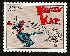 """US Stamp June """"Krazy Kat"""" comic strip by George Herriman debuts in New York Journal. New York Journal, Going Postal, Classic Comics, Mint, Mail Art, Stamp Collecting, My Stamp, Comic Books Art, Crazy Cats"""