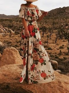 Elegant Boat Neck Ruffled Pleated Elastic Printed Colour Dress – modewish Floral Print Maxi Dress, Boho Dress, Abaya Fashion, Fashion Dresses, Casual Summer Dresses, Dress Casual, Vacation Dresses, Boat Neck, Elegant Dresses