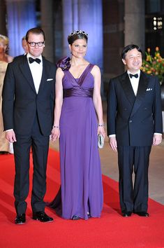 Sweden's Crown Princess Victoria (C), her husband Prince Daniel (L) and Japan's Crown Prince Nahurito pose on April 29, 2013 as they arrive to attend a dinner at the National Museum (Rijksmuseum) in Amsterdam hosted by Queen Beatrix of the Netherlands on the eve of her abdication. AFP PHOTO / CARL COURT        (Photo credit should read CARL COURT/AFP/Getty Images)